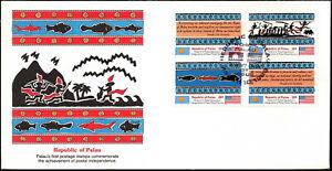 Palau - 1983 - Postal Independence Se-Tenant Block # 1 - # 4 #4a Fleetwood FDC