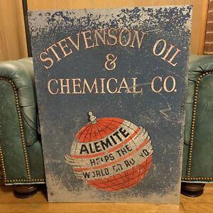 RARE STEVENSON OIL ALEMITE GAS OIL ADVERTISING SIGN
