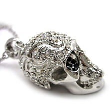 Unique Twinkling Big Skull Austrian Crystal Necklace Mouth Can Be Opened