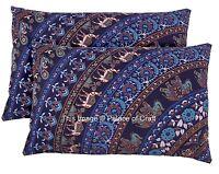 2 PC Elephant Mandala Cushion Cover Beach House Decor Pillow Case Pouf Sham Boho