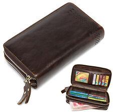 Fashion Men Genuine Leather Business Clutch Bag Handbag Zipper Wallet Organizer