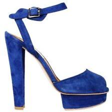 Carven Zapatos-Blue Suede Plataforma Tacones Peep Toe Correa De Tobillo Size Uk 6/EU39