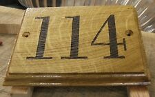 Personalised door number plaque/sign made from solid Oak