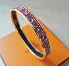 New Hermes Red Printed Enamel Bracelet, Feather Design, Thin Size 70, Gold, Gift