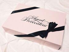 Vintage Agent Provocateur Rosa y Negro Caja de regalo de gran tamaño con Moño Negro Tejido Rosa