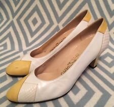 Vintage Salvatore Ferragamo White & Yellow Leather Heels Pumps Size 6.5 B