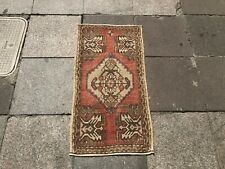 Red Turkish Small Rug, Vintage Turkish Door Mat, Small Decorative Rug, Antique