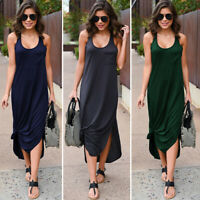 Women's Sleeveless Tank Maxi Dress Long Casual Summer Beach Shirt Loose Dresses