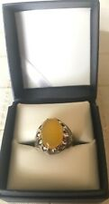 Men Ring STERLING SILVER 925 Natural Yellow AGATE(sharaf Alshams)AQEEQ Size 10
