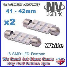 2x White 41mm 42mm Festoon 5050 6 SMD C5W Car Led Auto Interior Dome Door Light