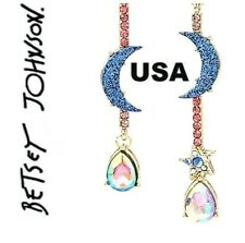 US Seller Betsey Johnson Crystal Star, Moon & Iridescent Stone Drop Earrings