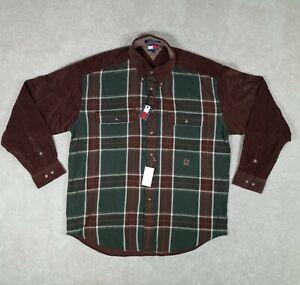 Vintage Tommy Hilfiger Men's XL Long Sleeve Shirt Brown Green Plaid Crest NWT