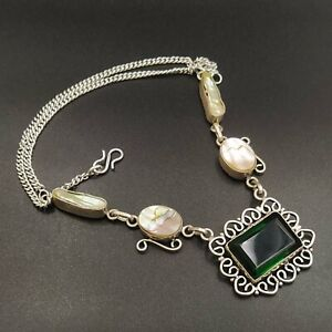 925 Silver Plated Green Topaz Abalone Shell Biwa Pearl Necklace Jewelry NEC1