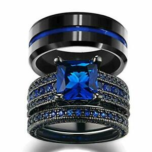 His and Hers Wedding Ring Sets 10K Black Gold Filled Blue Cz Wedding Engagement