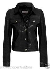Size 10 12 14 NEW Womens BIKER JACKET FAUX LEATHER Ladies  Coat PVC Black Brown