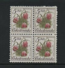CZECHOSLOVAKIA 1991 5k. NATURE PROTECTION. FLOWERS BLOCK OF 4 *VF MNH*