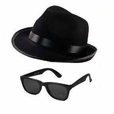 Blues Brother Hat Tie & Glasses Fancy Dress Costume Gangster Mob Accessories