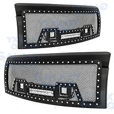 09-14 Ford F150 Rivet Black SS Mesh Grille+Black Shell W/ 2x LED+LED Light Bar