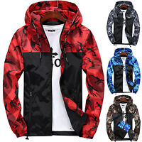 Men Long Sleeve Camo Loose Hoodie Jacket Slim Zip Up Cardigan Sweatshirt M-5XL