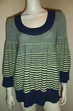 FREE PEOPLE Blue Yellow Wool Knit Striped Empire Babydoll Sweater Size M