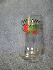 CORELLE FARM FRESH TUMBLER GLASSES GREEN PLAID CHECKERED APPLES 14oz  SET OF 5