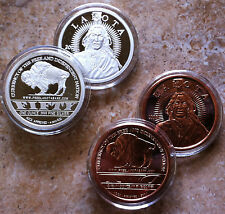 2~1oz~LAKOTA ROUNDS~1-SILVER +1-COPPER~.999 FINE PROOF COINS~CRAZY HORSE~BUFFALO