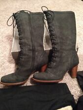 "UGG Australia ""Camille"" Black High Heel Lace Up Side Zip Boots Size 10"