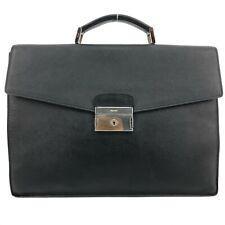 PRADA Mens Black Saffiano Leather Briefcase / Business Bag / Handbag w Logo