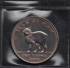 IOM Isle of Man Manx 1970 QE II 1 Crown  Manx Cat Uncirculated Sealet Wallet