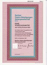 BRD Historisches Wertpapier Aktie Berliner Elektro-Beteiligungen VZ 50 DM 1984