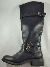 Women's RAMPAGE IZABELLA Knee High Pull On w/Ankle Zip Riding Dress Boots Black