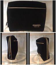 CHANEL Parfums Cosmetic Makeup Bag Case Black Velvet Gold Trim New/Promo