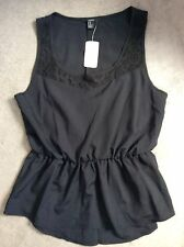 FOREVER 21 BLACK SLEEVELESS TOP WITH LACE NECKLINE WITH ELASTICATED WAIST-M BNWT
