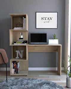 Home Office Computer Desk PC Writing Study Table Workstation with Tall Bookcase