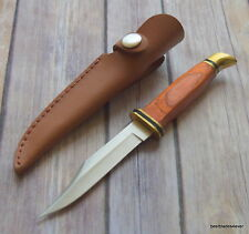 8 INCH OVERALL WOOD HANDLE HUNTING/SKINNING FIXED BLADE KNIFE WITH SHEATH