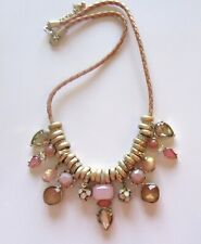 Loft Necklace -braided chain - pretty charms pinks gold color round -pear shape