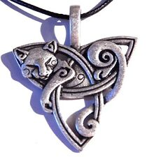 SLEEPING CAT TRIQUETRA Celtic knot trinity Pangur Ban necklace pendant Norse 4E