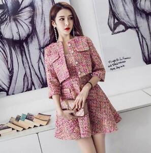 Womens Wool Blend Knitting Suit Dress Mini Skirts 2 Pcs Slim Fit Coat Jacket New