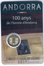 """Andorra Coincard mit 2 Euro 2017 """"100 anys de l´himne d´Andorra"""" UNC."""