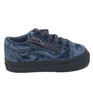 Vans Old Skool Zip Velvet Toddler 5.5 Baby Gray Black Grey Shoes New