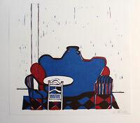 BARBARA SCHOENHOLTZ-KEIDEL - Wohnzimmer (1970). Handsignierter Linolschnitt.