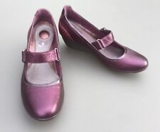 Clarks Women Mary Jane Shoes 6 39 D Purple Leather & Suede Wedge Velcr Strap
