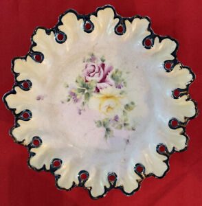 Late 1800s NPSK, Nippon, Japan, Hand Painted Reticulated Round Platter, Moriage