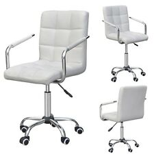Office Home Chair PU Leather Swivel Armrest Executive Computer Desk Modern White