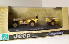 CARARAMA 1463-YW JEEP WILLYS CJ-2A  model open jeep and trailer yellow 1:43