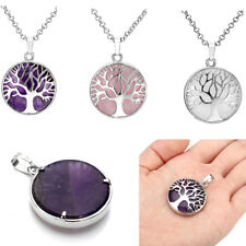 Natual Stone Alloy Tree Of Life Amethyst Rose Quartz Crystal Pendant Necklace