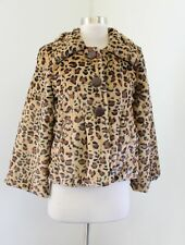 NWT Yoki Womens Leopard Print Soft Faux Fur VEGAN Swing Jacket Size M Cheetah
