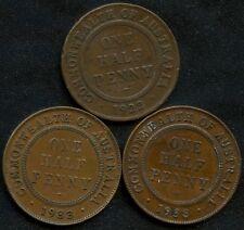 1922 1933 & 1938 Australia 1/2 Penny Coins