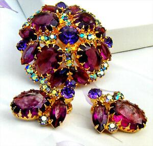 Verified D&E Juliana Amethyst Faceted Stones Rhinestones Brooch Pin Earrings