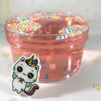 """SCENTED Clear SLIME """"MEWNICORN"""" Pink Stretchy Foam Beads Charm Scent 6 8 oz"""